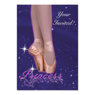 Princesa da bailarina em seus calçados do ponto convite 12.7 x 17.78cm