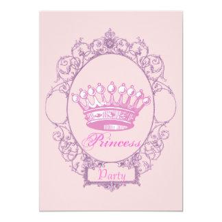 Princesa de coroa cor-de-rosa convite de