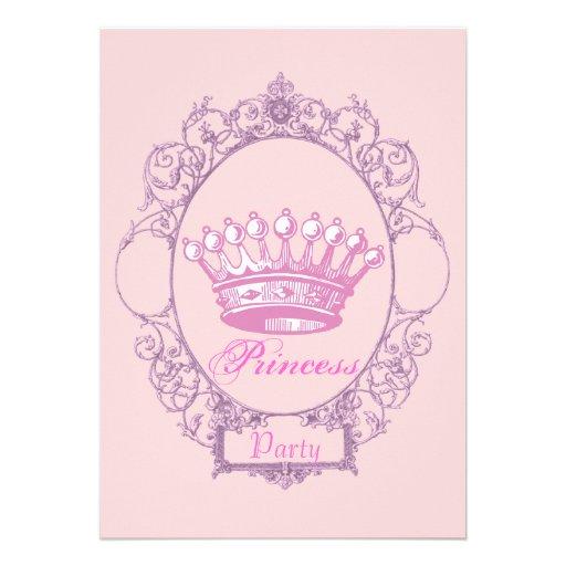 Princesa de coroa cor-de-rosa convite de aniversár