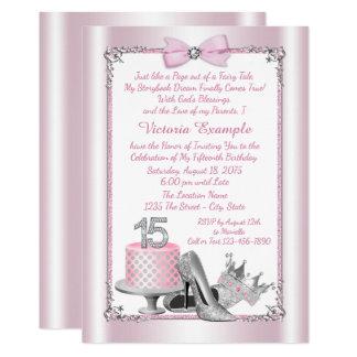 Princesa de prata cor-de-rosa Quinceanera Convite