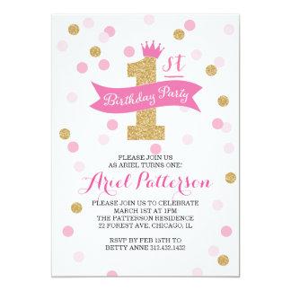 Princesa do aniversário da festa de aniversário | convite 12.7 x 17.78cm