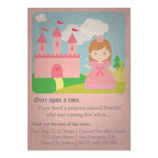 Princesa do conto de fadas do vintage, festa de convite 11.30 x 15.87cm
