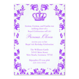 Princesa elegante festa de aniversário convite 12.7 x 17.78cm