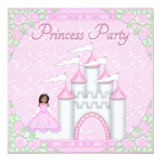 Princesa étnica & princesa cor-de-rosa Partido do Convite Quadrado 13.35 X 13.35cm
