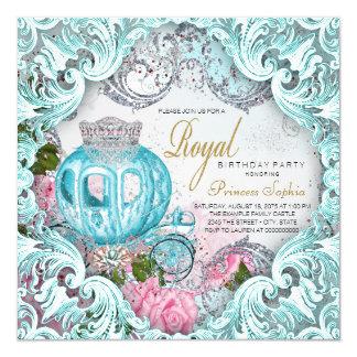 Princesa extravagante festa de aniversário do convite quadrado 13.35 x 13.35cm