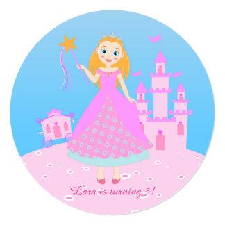 Princesa festa de aniversário convite quadrado 13.35 x 13.35cm