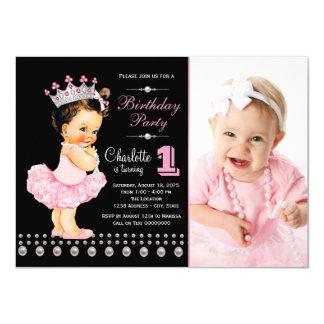 Princesa festa de aniversário convite 11.30 x 15.87cm