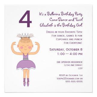Princesa festa de aniversário da bailarina convite