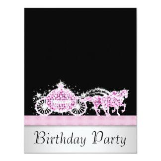 Princesa festa de aniversário do preto do rosa da convites