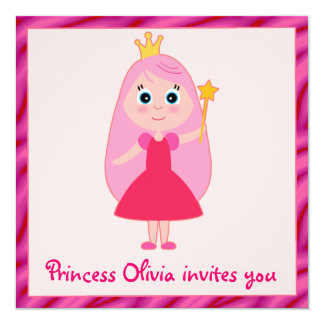 Princesa festa de aniversário dos desenhos convite quadrado 13.35 x 13.35cm