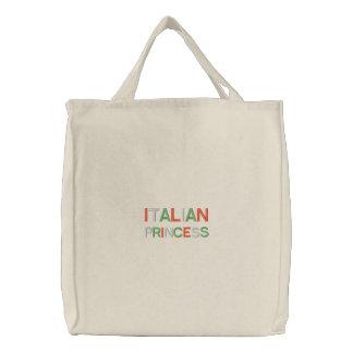 Princesa italiana bordada branco sacola bolsa