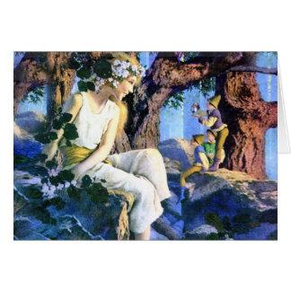Princesa justa de Maxfield Parrish e os gnomos Cartão Comemorativo