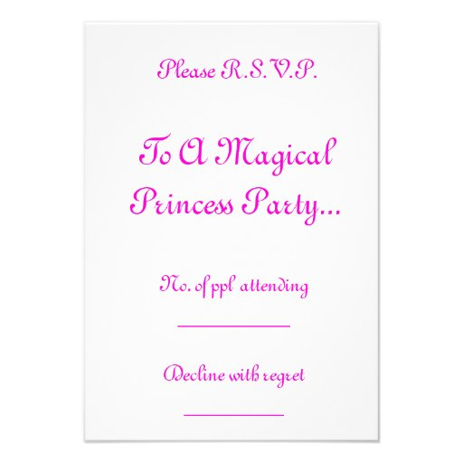 Princesa mágica Partido R.S.V.P. Convites