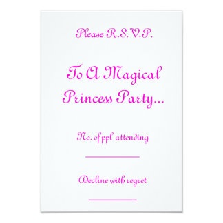 Princesa mágica Partido R.S.V.P. Convite 8.89 X 12.7cm