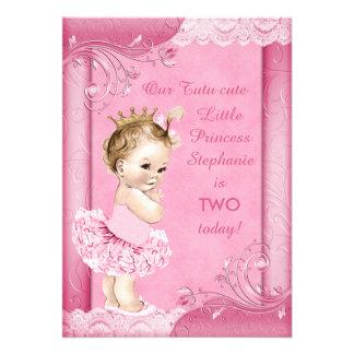 Princesa no laço do falso do segundo aniversário convite personalizado