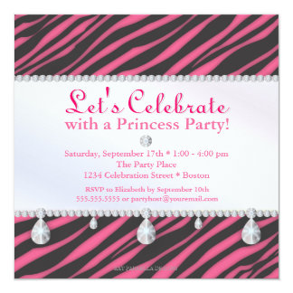 Princesa Partido Zebra Listra no aniversário Convite Quadrado 13.35 X 13.35cm