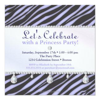 Princesa Partido Zebra Listra no aniversário roxo Convite Personalizados