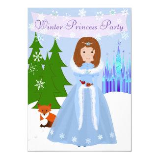 Princesa pequena Inverno Partido Brown Cabelo Convite 11.30 X 15.87cm