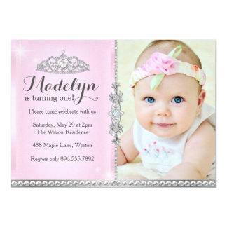 Princesa pequena Primeiro Aniversário Cor-de-rosa Convite 11.30 X 15.87cm