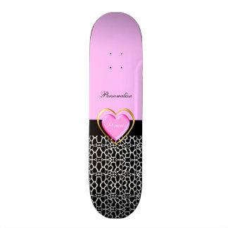 Princesa preta cor-de-rosa feminino Girafa Shape De Skate 18,7cm