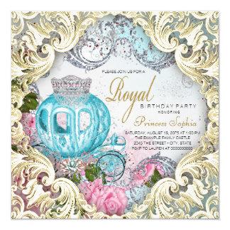 Princesa real extravagante festa de aniversário convite quadrado 13.35 x 13.35cm