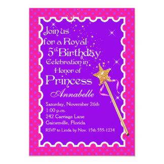 Princesa roxa, cor-de-rosa Partido Aniversário Convite 12.7 X 17.78cm