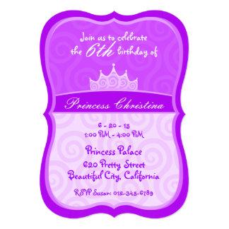 Princesa roxa Coroa Espiral Aniversário Convites Personalizado