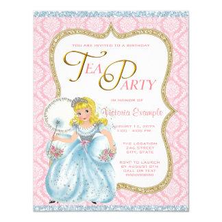 Princesa tea party convite 10.79 x 13.97cm
