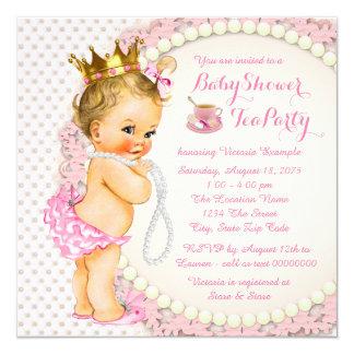 Princesa tea party convite quadrado 13.35 x 13.35cm