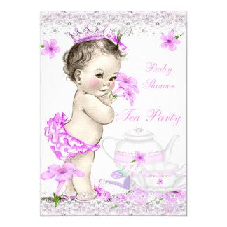 Princesa tea party da menina do chá de fraldas do convite 12.7 x 17.78cm