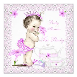 Princesa tea party da menina do chá de fraldas do convite quadrado 13.35 x 13.35cm