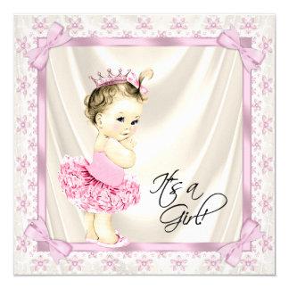 Princesa Tutu Bebê Bailarina Rega Convite Quadrado 13.35 X 13.35cm