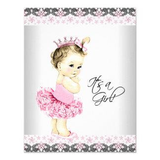 Princesa Tutu Cor-de-rosa e chá de fraldas Convite 10.79 X 13.97cm