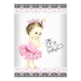Princesa Tutu Cor-de-rosa e chá de fraldas Convite 12.7 X 17.78cm
