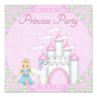 Princesa, unicórnio & princesa cor-de-rosa Partido Convite Quadrado 13.35 X 13.35cm