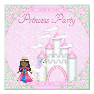 Princesa, unicórnio & princesa étnicos Partido do Convite Quadrado 13.35 X 13.35cm