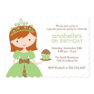 Princesa verde festa de aniversário do cupcake convite 12.7 x 17.78cm
