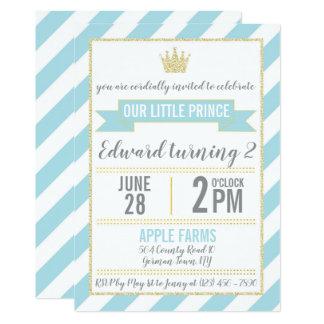 Príncipe azul Aniversário Convite do brilho do