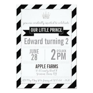Príncipe de prata preto Aniversário Convite do