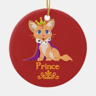 Príncipe Gatinho Ornamento De Cerâmica Redondo
