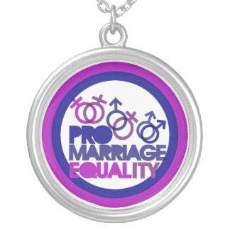 Pro casamento gay colar banhado a prata
