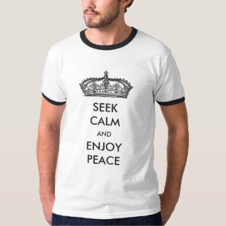 Procure calmo e aprecie camisetas da paz