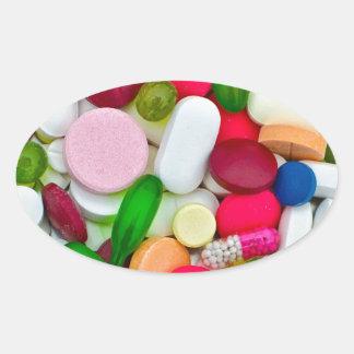 Produto colorido do costume dos comprimidos adesivo oval