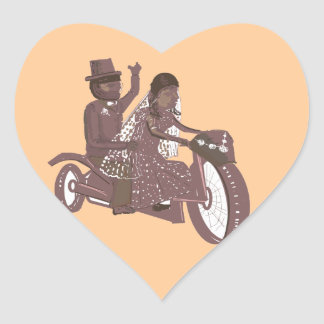 Produtos do casamento do motociclista adesivo coração