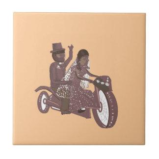 Produtos do casamento do motociclista azulejo quadrado pequeno