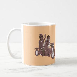 Produtos do casamento do motociclista caneca de café