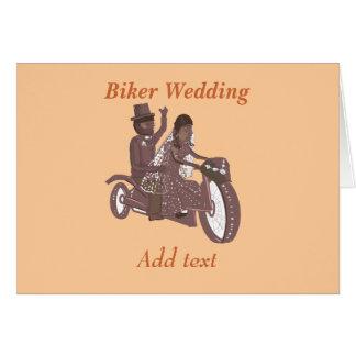 Produtos do casamento do motociclista cartão comemorativo