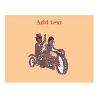 Produtos do casamento do motociclista cartão postal