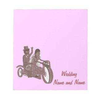 Produtos do casamento do motociclista do motocicli bloco de notas