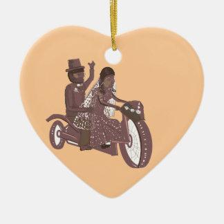 Produtos do casamento do motociclista ornamento de cerâmica coração